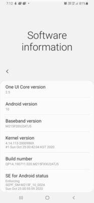 Samsung Galaxy M21 One UI 2.5 Update