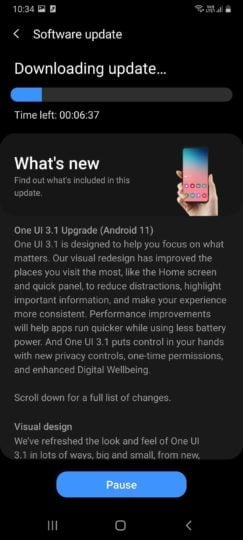 Samsung Galaxy A70s Android 11 One UI 3.1 Update Changelog