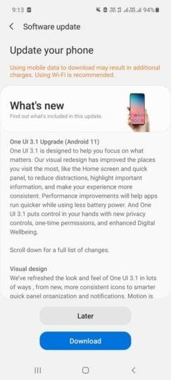 Samsung Galaxy M31s One UI 3.1 Update Changelog - 01