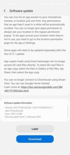 Samsung Galaxy M31s One UI 3.1 Update Changelog - 02
