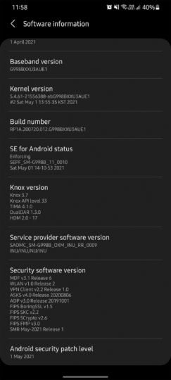 Samsung Galaxy S21 Ultra May 2021 Software Update India G998BXXU3AUE1