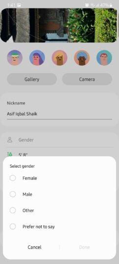 Samsung Health Gender Options