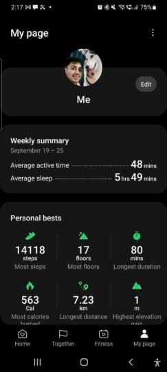 Samsung Health My Page