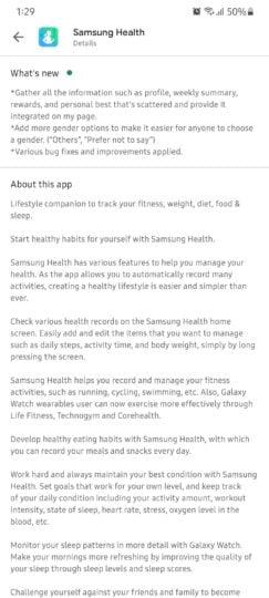 Samsung Health Update September 2021 Changelog