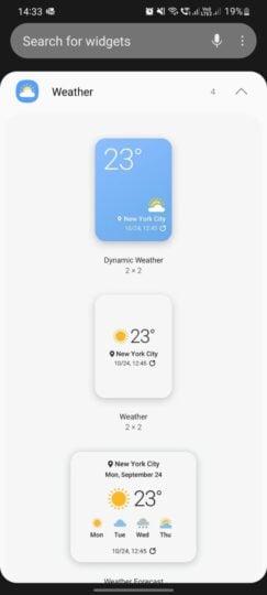 Samsung One UI 4.0 Dynamic Weather Widget Picker