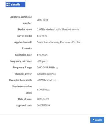 Samsung Galaxy Watch SM-R850 CMIIT Certification
