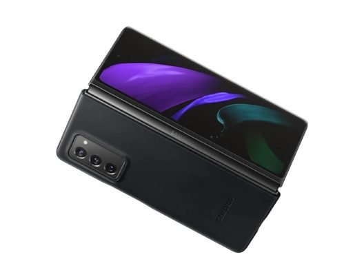 Samsung Galaxy Z Fold 2 Leather Cover Black Open