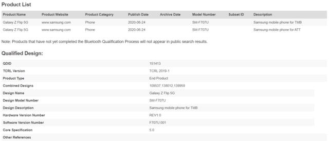 Samsung Galaxy Z Flip 5G SM-F707U AT&T T-Mobile Bluetooth Certification