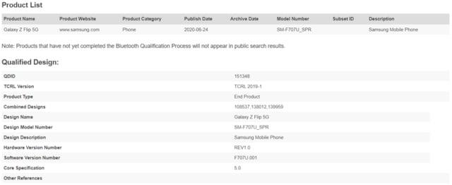 Samsung Galaxy Z Flip 5G SM-F707U SPR Bluetooth Certification