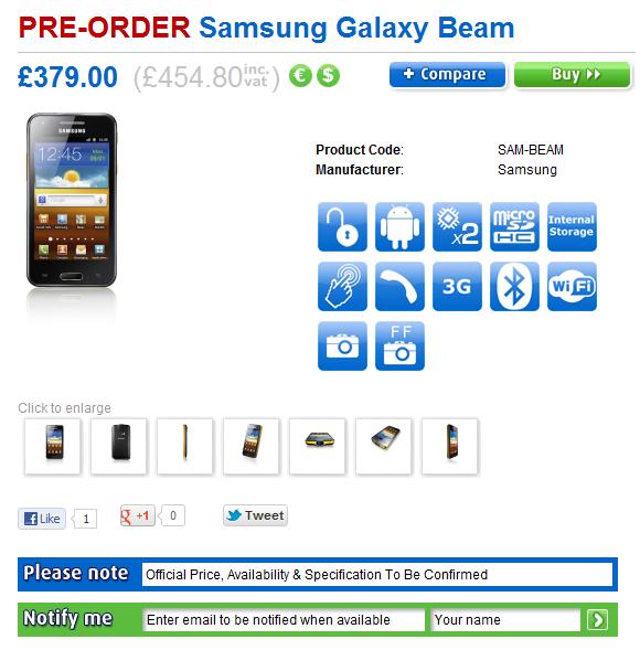 Galaxy beam goes on pre order sammobile sammobile for Samsung beam tv