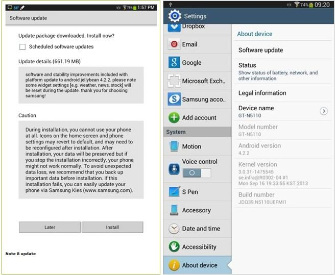 Note 8.0 WiFi GTN5110 receiving Android 4.2.2 update  SamMobile