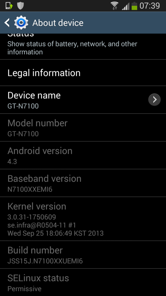 N7100XXUEMI6 - Leaked Android 4 3 test firmware for Galaxy