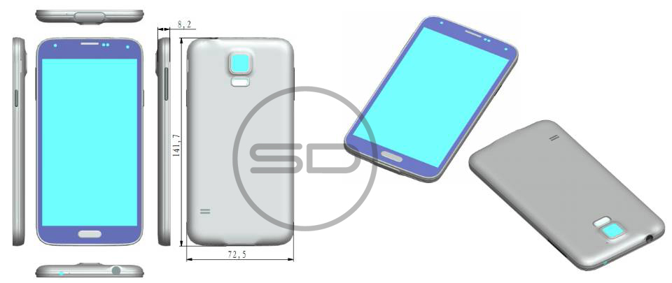 Leaked render hints at Galaxy S5 dimensions, shows design