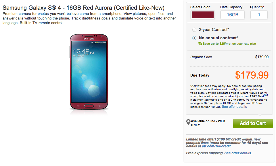 AT&T selling 'certified like-new' Galaxy S4 for $179 without contract