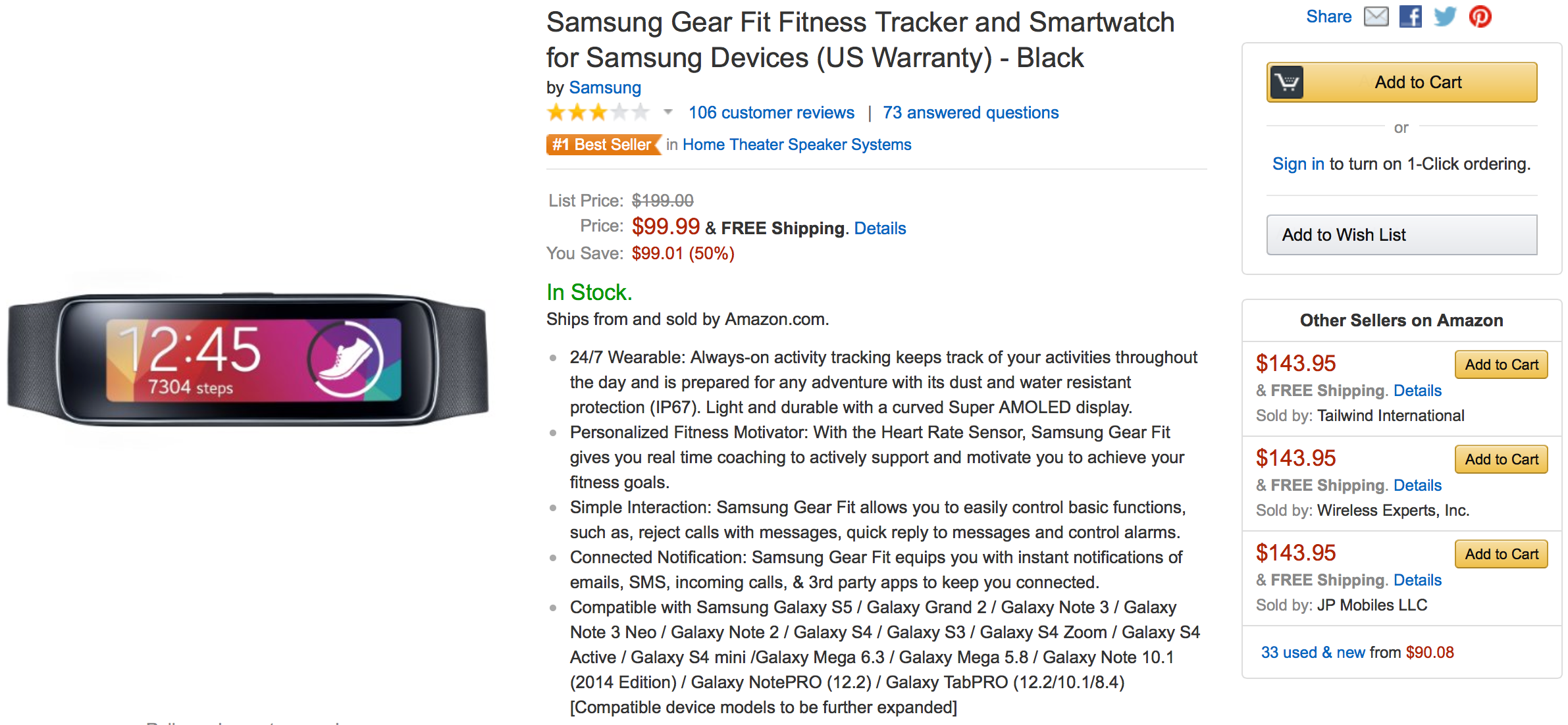 Samsung Gear Fit Offer Amazon