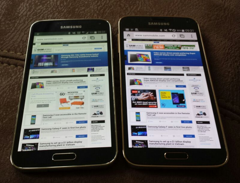 The Galaxy S5 LTE-A (on the right) offers whiter whites