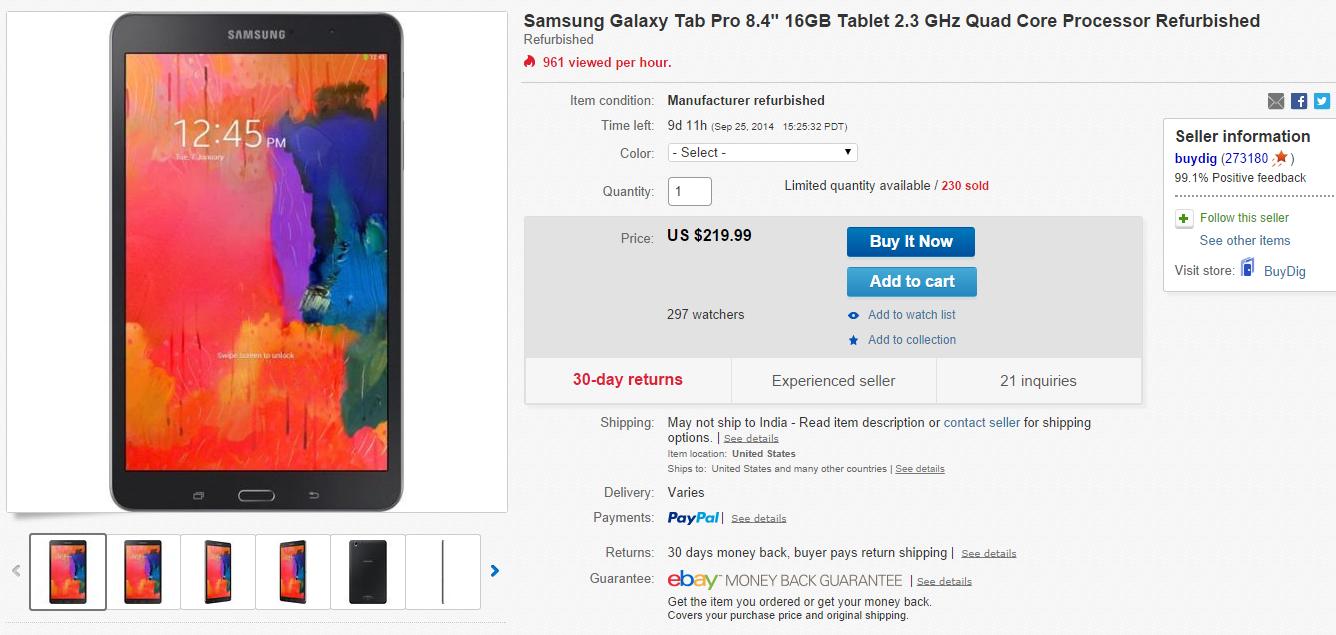 Samsung Galaxy Tab PRO 8.4 in black design