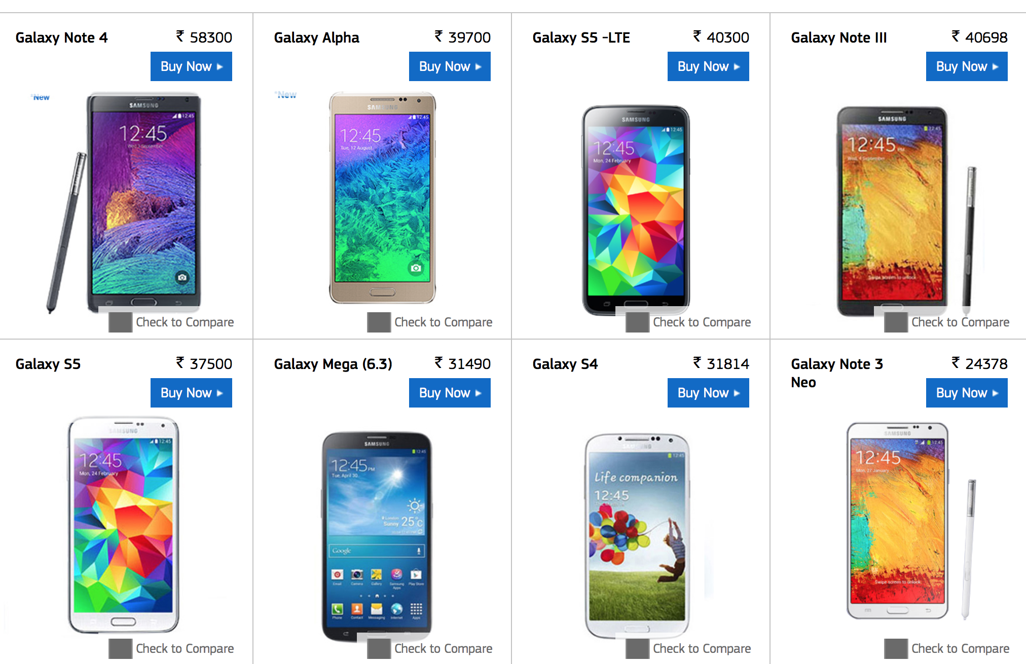 Samsung All Galaxy Phones Price In India 2014 Samsung ...