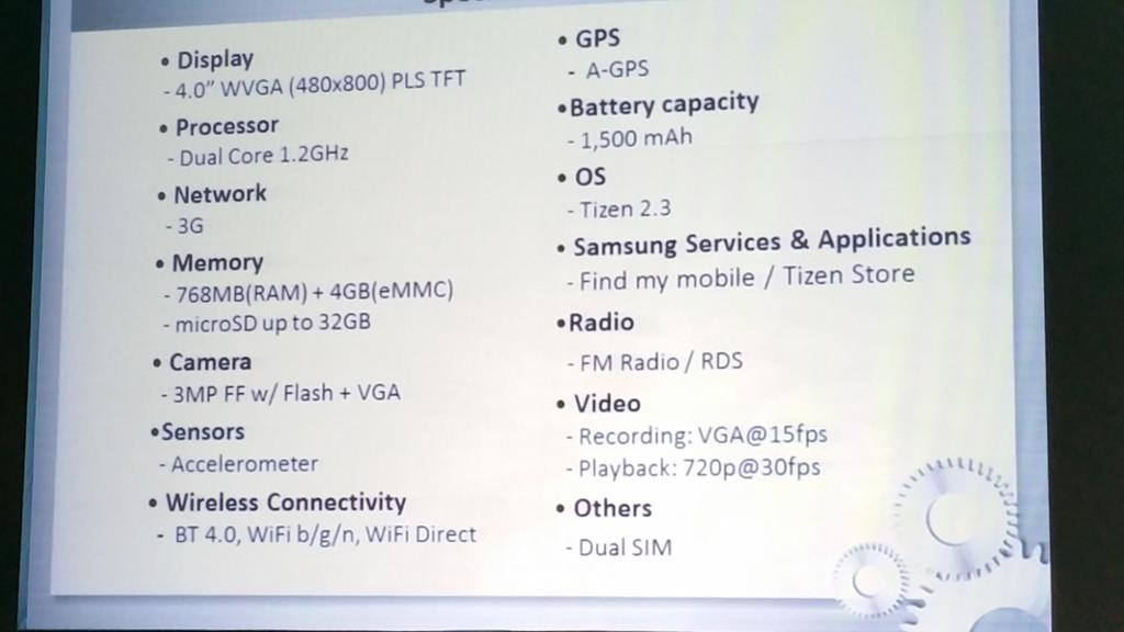 Samsung Z1 Specifications
