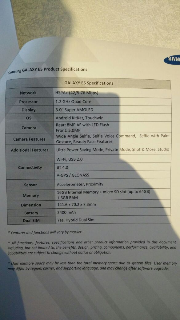 Samsung Galaxy E5 Specifications