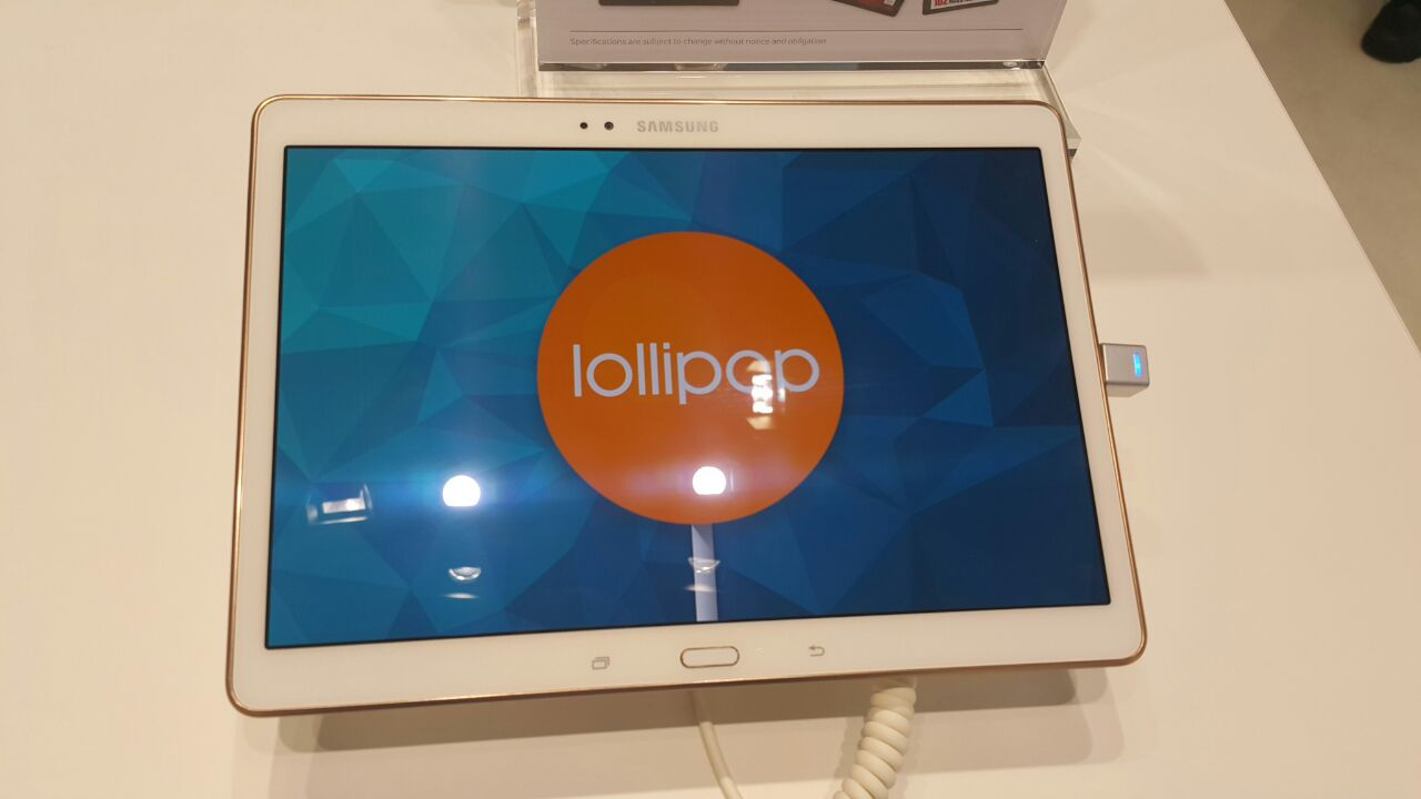 samsung showcasing galaxy tab s running android lollipop at mwc