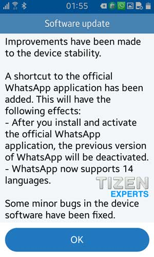 Tizen Z1 update for India brings new WhatsApp shortcut, language