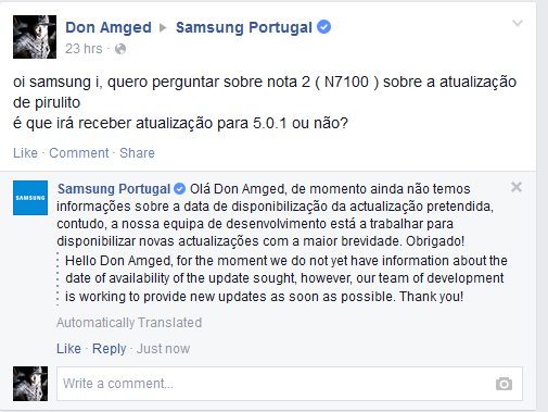 Samsung Galaxy Note 2 Android 5.0 Lollipop Update Portugal