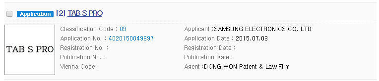 Galaxy Tab S Pro name filed by Samsung