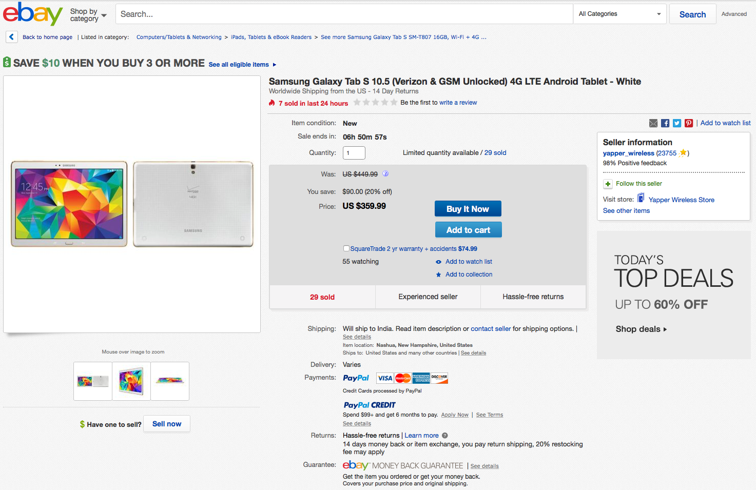 the galaxy tab s 10 5 lte verizon is available on ebay. Black Bedroom Furniture Sets. Home Design Ideas