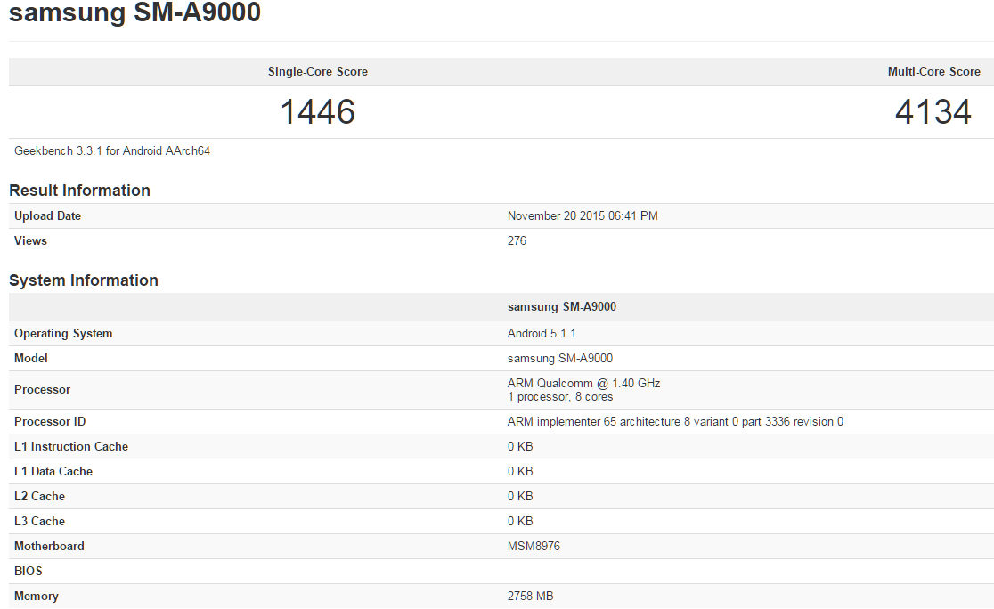 Samsung Galaxy A9 Geekbench Leak