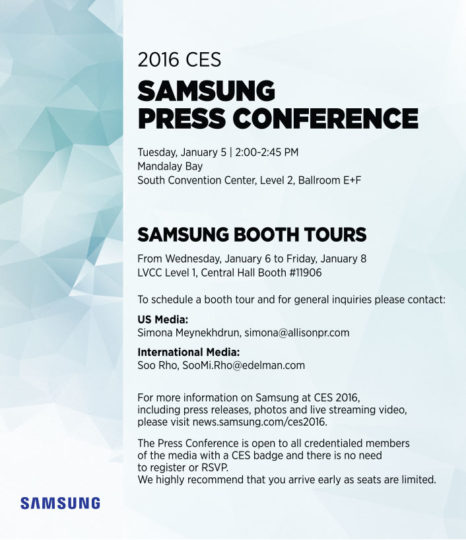 Samsung announced ces conference invitation letter stopboris Choice Image