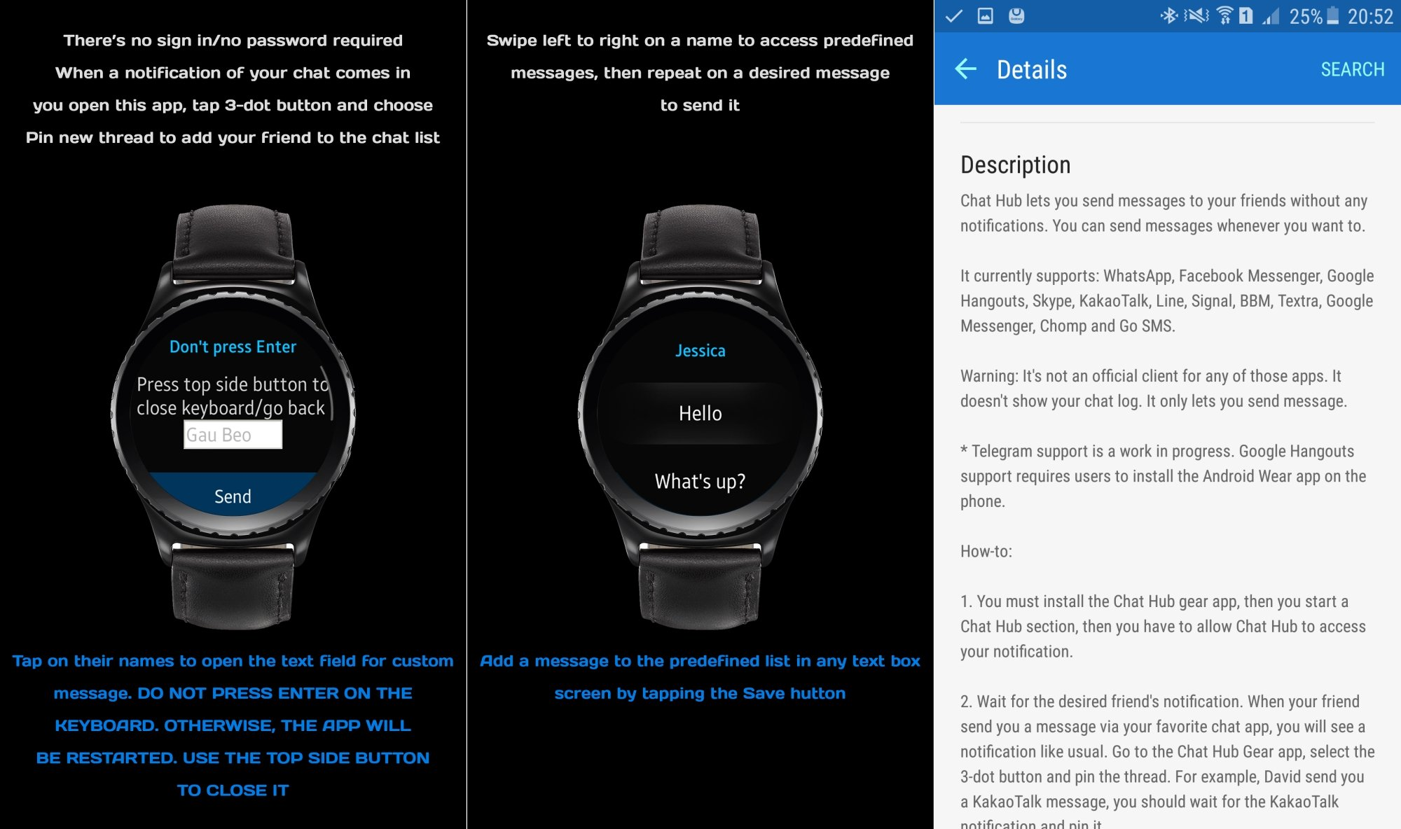 Chat Hub app for Gear S2 lets you send messages right from