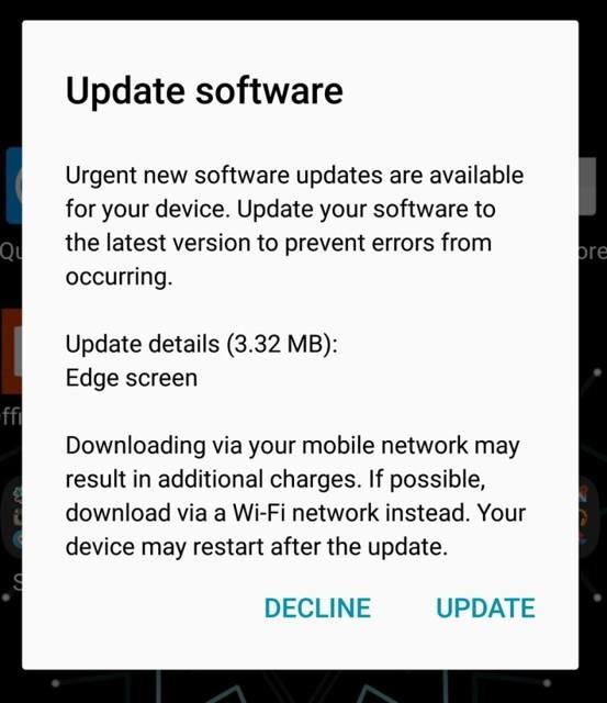 Samsung Galaxy S7 Edge Urgent Display Update