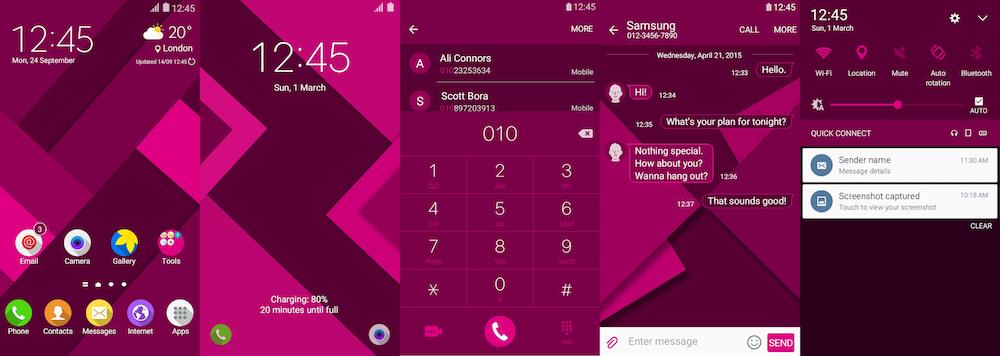 Samsung Galaxy Theme - Material Pink Flat