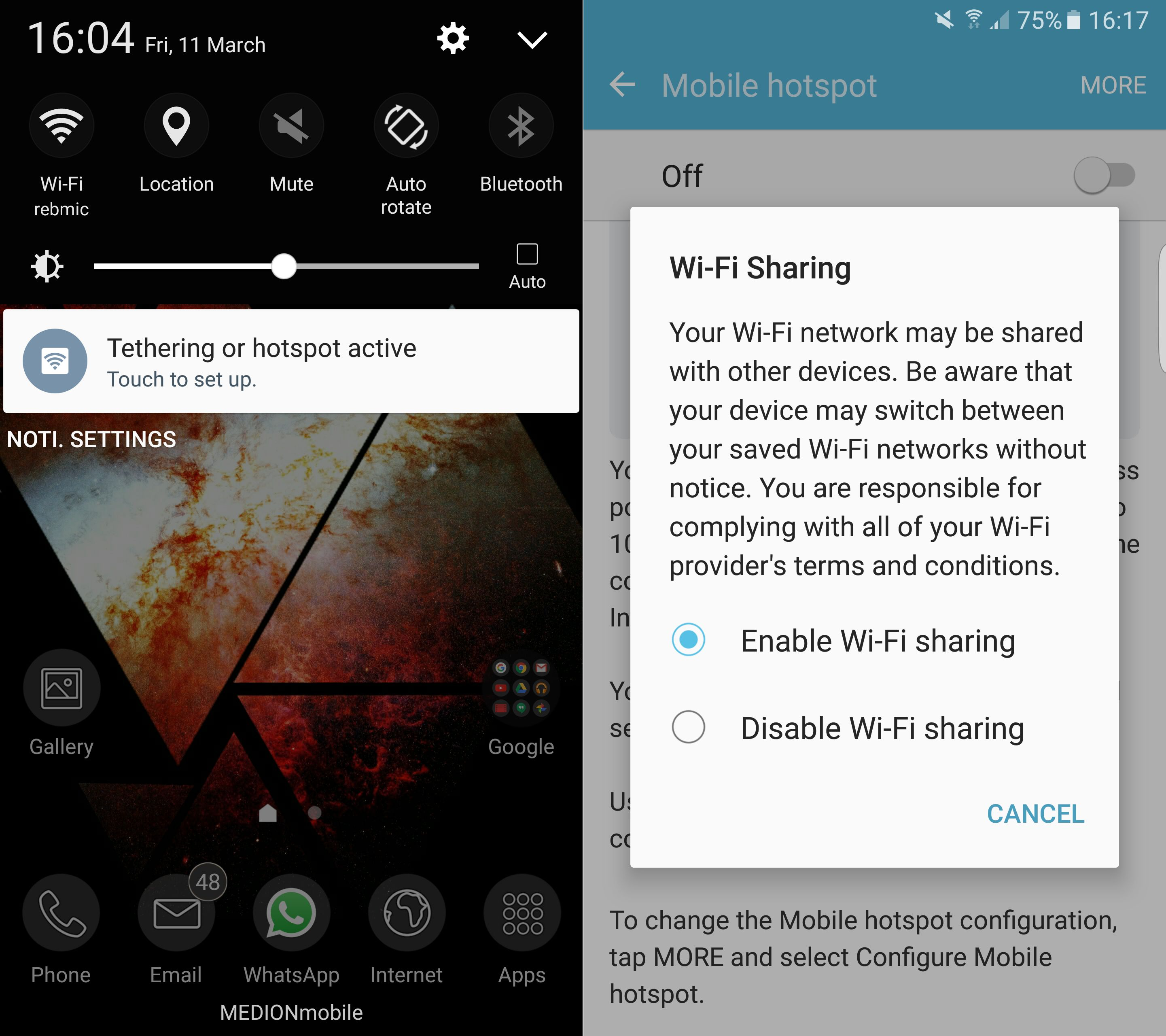 how to use tethering on galaxy s7