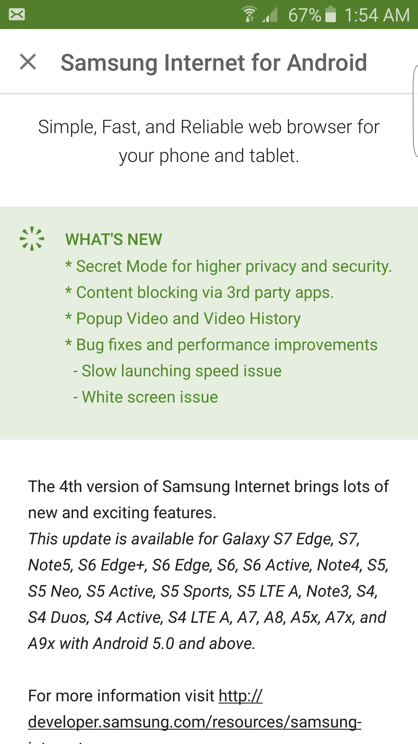 Samsung Internet version 4 0 now released for older Galaxy