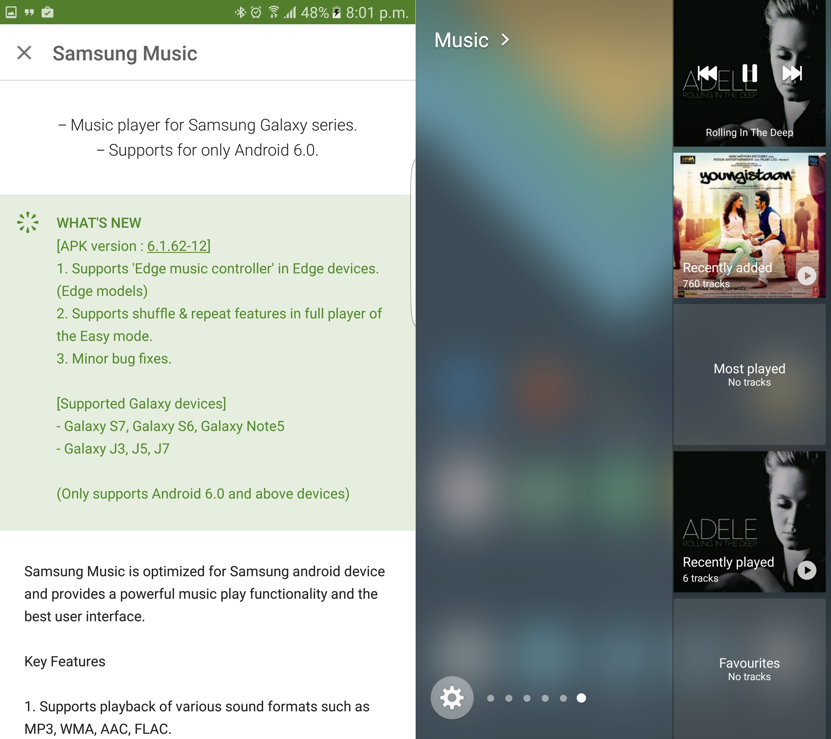 Update to Samsung Music app brings support for edge controls