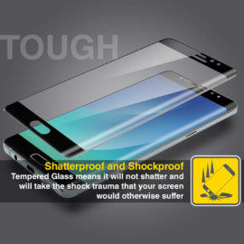 Samsung Galaxy Note 7 Black Tempered Shatterproof Screen Protector