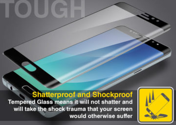 Samsung Galaxy Note 7 Black Tempered Shockproof Screen Protector