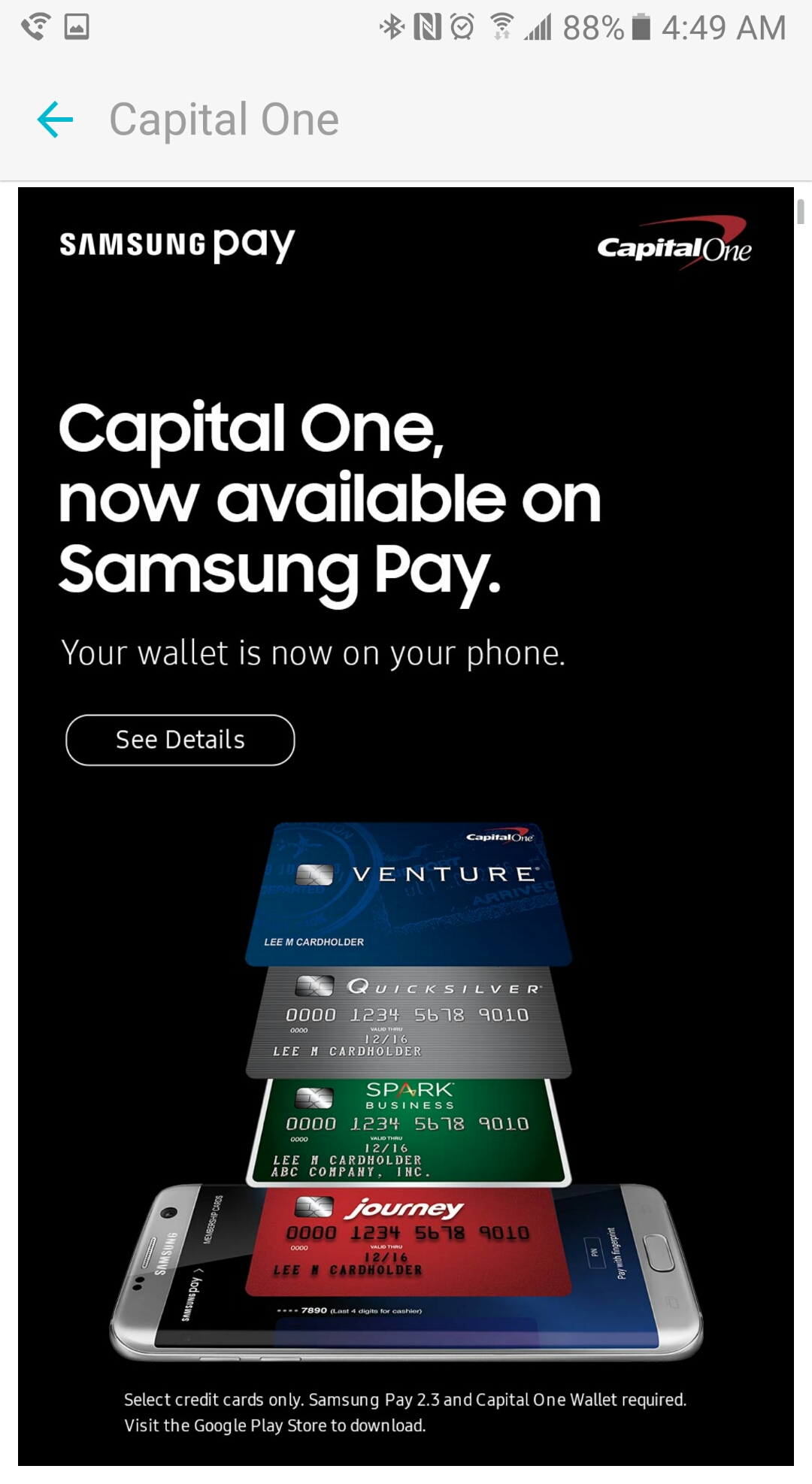 Capital One's Platinum credit card now works with Samsung Pay