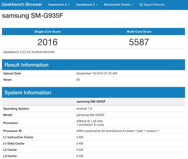 Samsung Galaxy S7 Edge SM-G950F Android 7.0 Turrón Geekbench