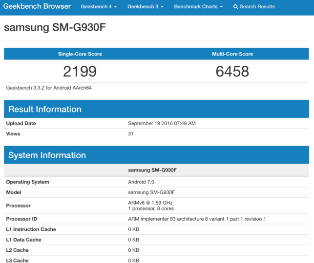 Samsung Galaxy S7 SM-G930F Android 7.0 Turrón Geekbench