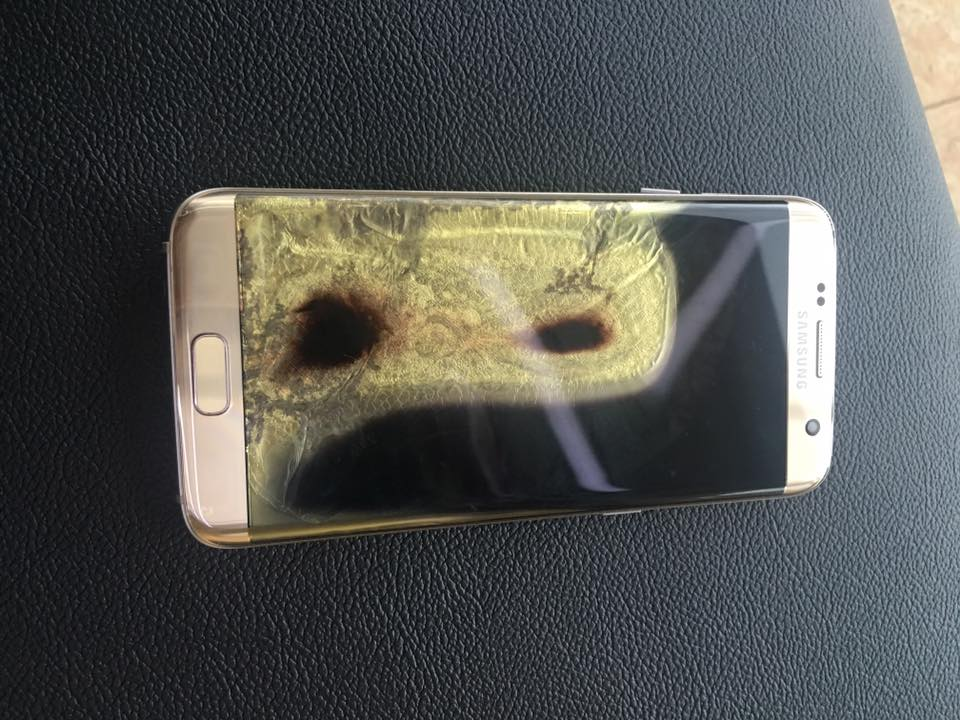 another galaxy s7 edge has apparently burned for no reason
