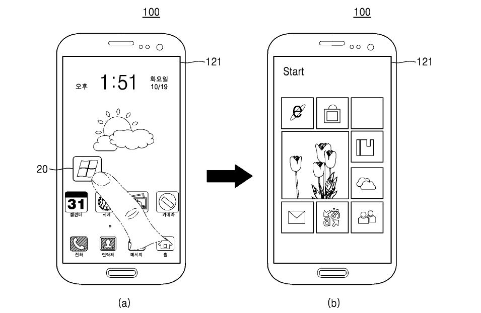 Image result for Samsung mobile phone new patents: but with the screen to run Android and WP