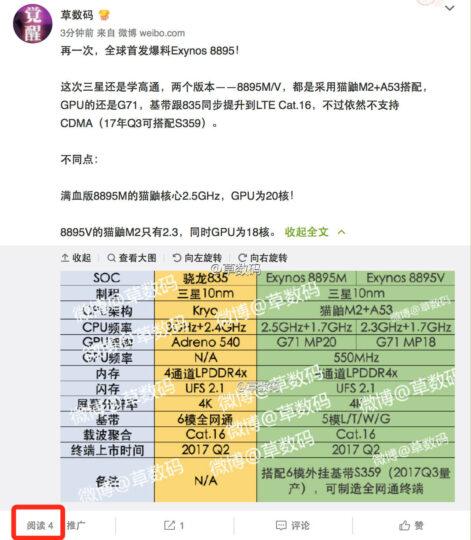 Samsung Exynos 8895M 8895V vs. Qualcomm Snapdragon 835