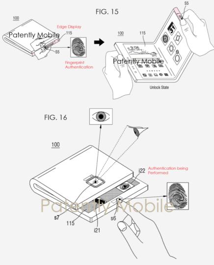 foldable smartphone patent biometric ID