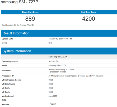 Galaxy J7 2017 Geekbench