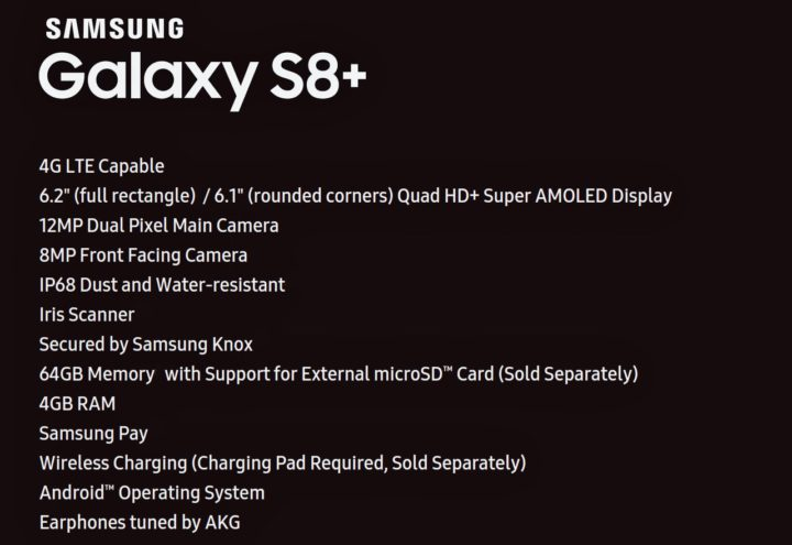 Samsung Galaxy S8 Plus Specifications List