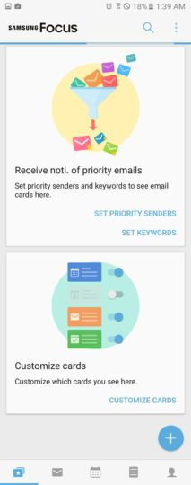 Samsung Focus app priority senders customize cards