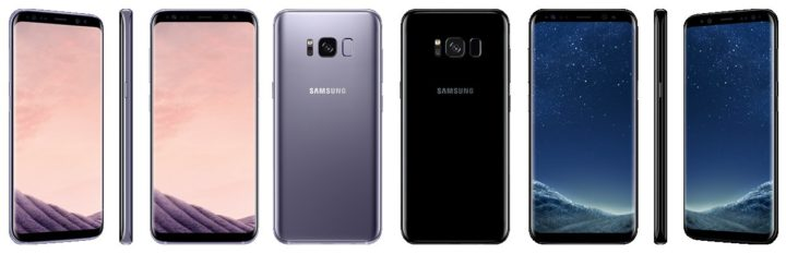 Samsung Galaxy S8 - Orchid Gray & Black Sky Colours - Front & Back